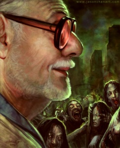 The King of the zombie films faces off against his creations.  Good job Jason Chan on this kickass painting.
