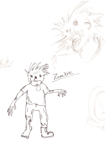 Doodle zombie, missing a boot, that klutz