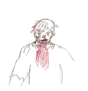 "I did this drawing earlier today . . . red pen makes blood more, well, ""red"""