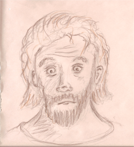 A funny looking face which was suppose to be George Carlin but looks more like crazy Jesus or something