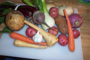Look at all those fun roots and bulbs; carrots, potatoes, parsnips, turnips, rutabega, beets, onion, and garlic