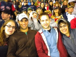 At Fenway, watching the game (from right: Alisa, Rocky, Nate, and Me)