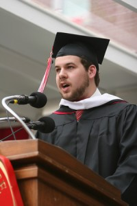 My little brother up in the platform giving a speech to the crowds (I hate that he has a beard and I can barely grow any facial hair . . . fucker)