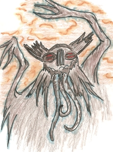"""I called titled this piece """"The New Zunab"""" because it has a resemblance to a series of drawing I did early in college of a creature I called Zunab the Ghost.  I think this thing is kind of Lovecraftian really"""