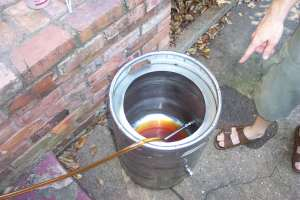 Moving the delightful wort into the boil tun.  Lovely beer color going on here