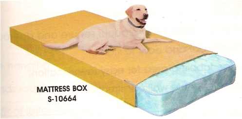 I am honsetly a little ocnfused by this image.  Okay, I can see that the mattress fits in the box, but what the fuck is the deal with the dog?  Is it for sense of scale (but how large is the dog)? Is it just a piece of supply catalog artistic license?  Did that dog just show up at the photo shoot and refuse to move from the box?  So many questions!