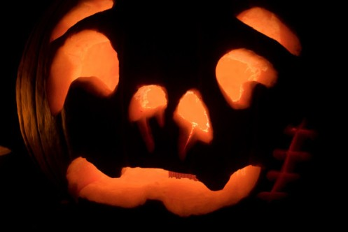This is the jack-o'-lantern that I carved.  I think it looks melty.
