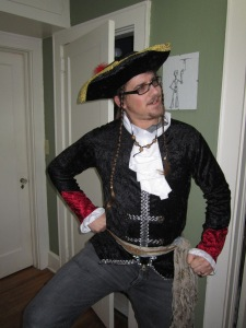 This is me as a pirate, allowing my long hair one last show.
